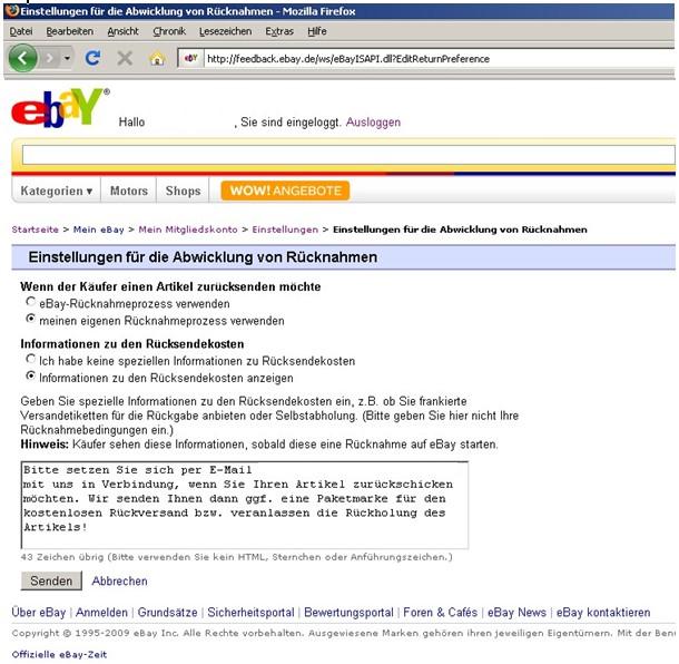 eBay Rücknahme
